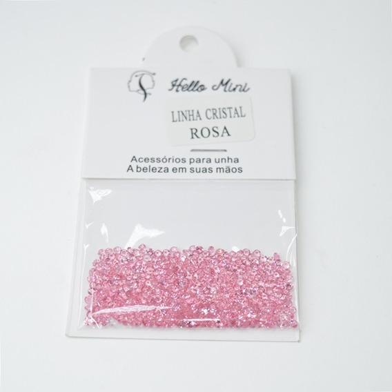 2 Enfeites Pedrarias Hello Mini Linha Cristal Rosa