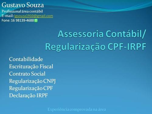 Imagem 1 de 1 de Assessoria Contábil/ Regularização Cpf-irpj
