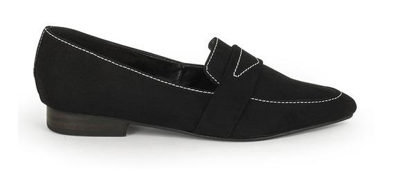 Flats Zapatos Dama Negros Costura De Piso 9100