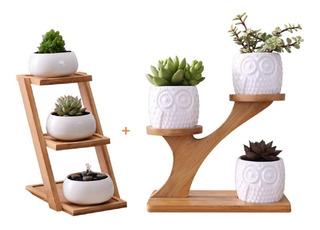 Maceteros De Bambu Macetas De Ceramica Jardin 2 Sets Youfui