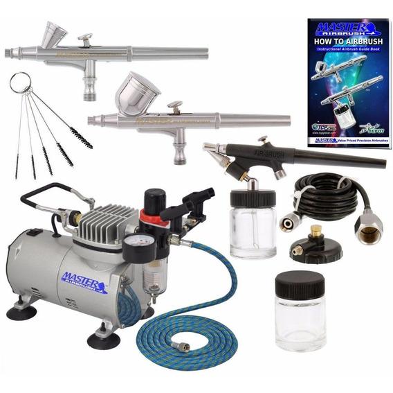 Incluye 3 Aerografos + Compresor Master Aerografia Oferta