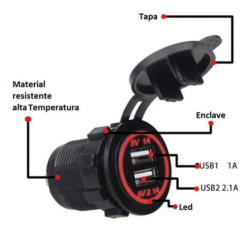 EisEyen Cargador para moto doble USB, 2,1 A, 12-24 V, con volt/ímetro digital LED
