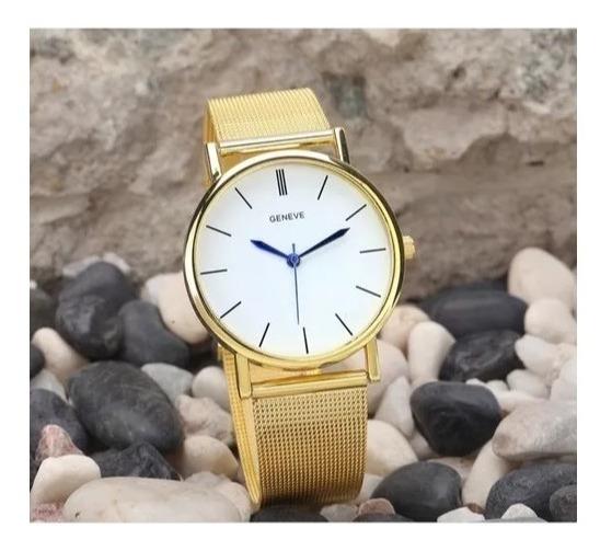 Relógio A Ouro Quartzo Unissex Feminino Masculino Fret Gráts