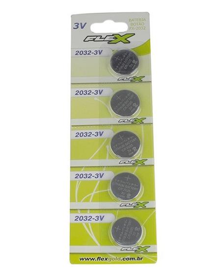 Bateria Tipo Botão Cartela Com 5 Unidades 3 V Fx-cr2032 Flex