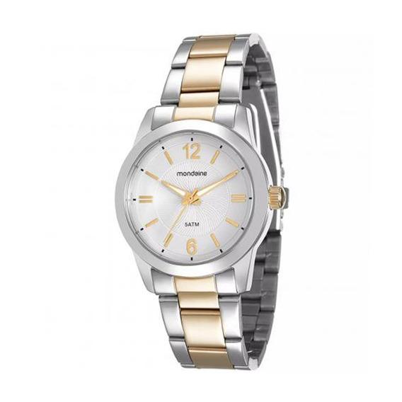 Relógio Original Feminino Mondaine Prata E Dourado C/ Nfe