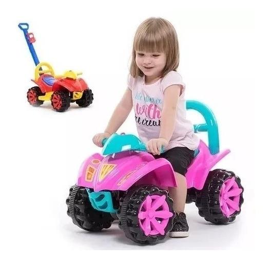 Quadriciclo Carrinho De Passeio Infantil Com Puxador Menina