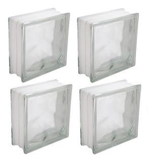 Bloco Tijolo De Vidro Transparente - Kit Com 4 Peças