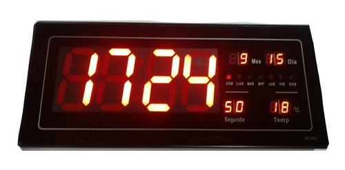 Reloj Digital De Pared Led Termómetro Fecha Alarma Negro