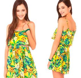 Promoção Vestido Moda Praia Estampado Curto Floral De Alca