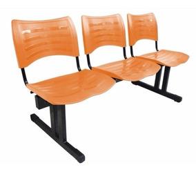 Longarina 3 Lugares Assento E Encosto Polipropileno Laranja