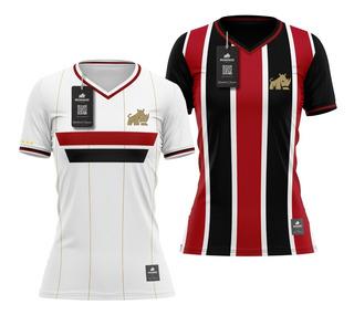 2 Camisas São Paulo Retrô Feminino Rinno Force Bordado