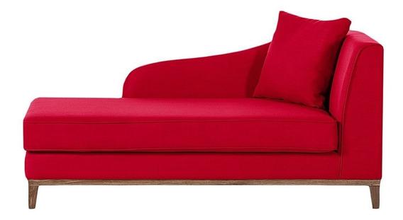 Dilem Chaise Longue Estilo Vintage Tela Color Rojo
