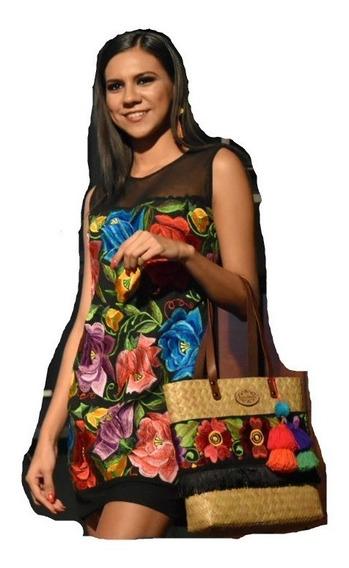Vestido Casual De Noche Bordado Artesanal Yucateco _cfk21323