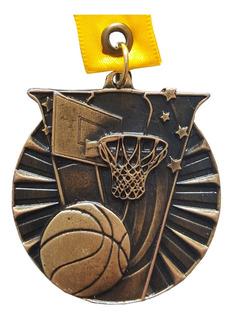 Medallas Metálica Basquetbol Color Oro