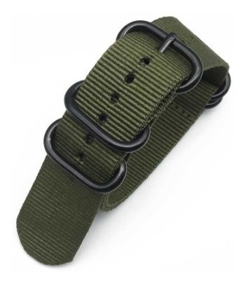 Pulseira Relógio De Nylon Verde Militar/creme - 22 Mm Larg.