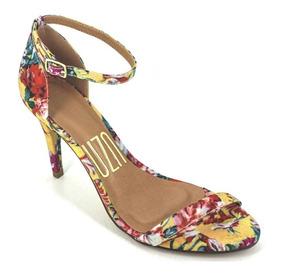 Sandália Feminina Floral De Tira Salto Alto Uza Shoes 107014