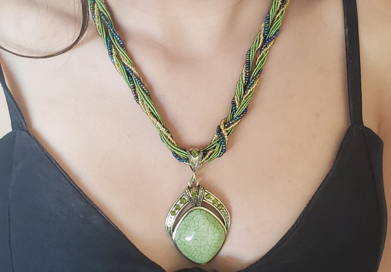 Colar Feminino Indiano Verde Com Pedra