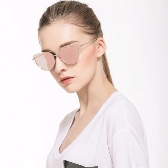 Óculos De Sol Feminino Espelhado Rosé Armação Gold