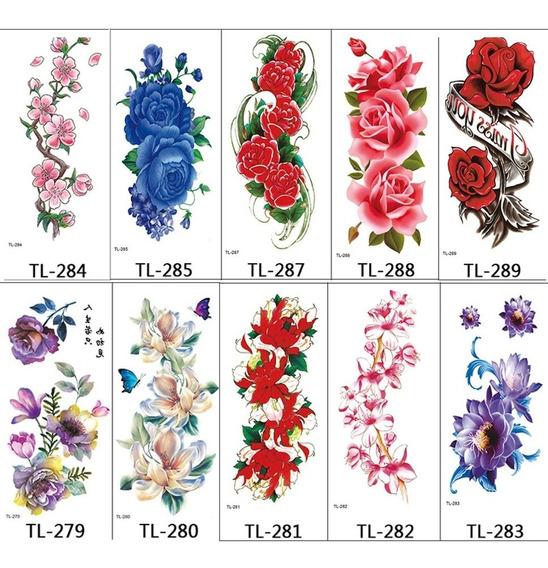 10 Sheets Tatuagem Temporário Flores , Mulheres Rose Sortido