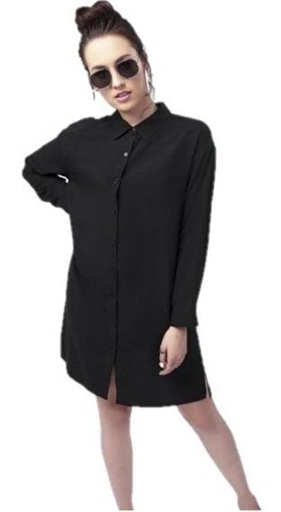 Vestido Casual Con Estampado En Espalda Negro 017105
