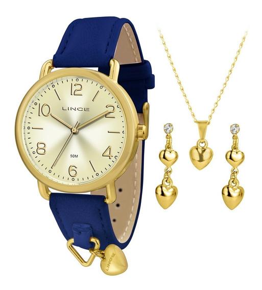 Relogio Lince Feminino Lrc4451l Kt60 Dourado Couro Azul