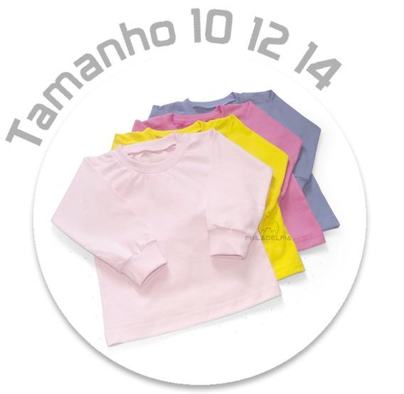 Camiseta Manga Longa Juvenil Nº 10 /12/ 14 100% Algodão Kit