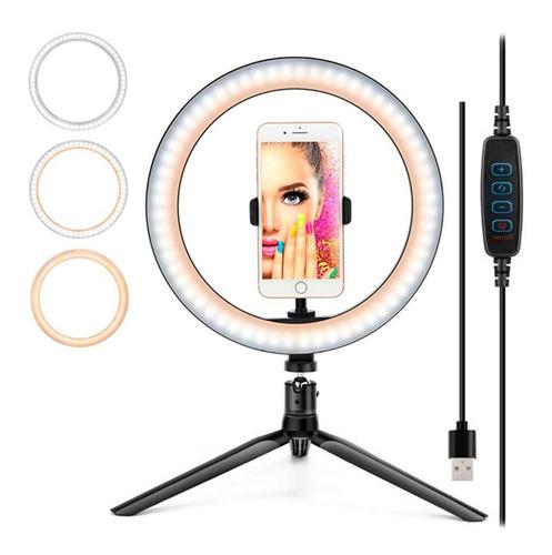 Imagen 1 de 10 de Aro De Luz Led 26 Cm 3 Luces Anillo Maquillaje Ring Youtuber
