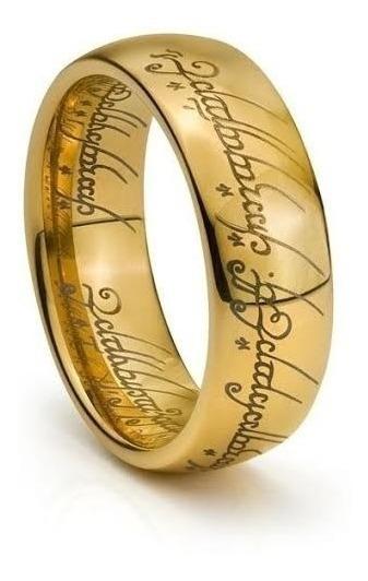 Anel Senhor Dos Anéis Trilogia Tungstênio Dourado Proteção