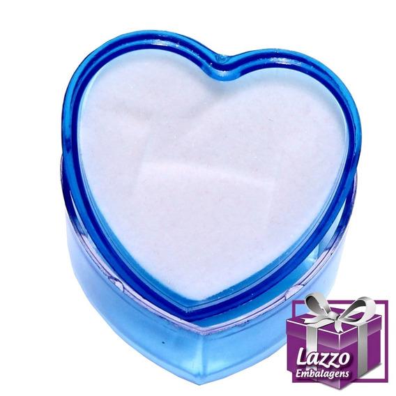 30 Embalagem Caixinha Coração Acrilico Para Anel Atacado