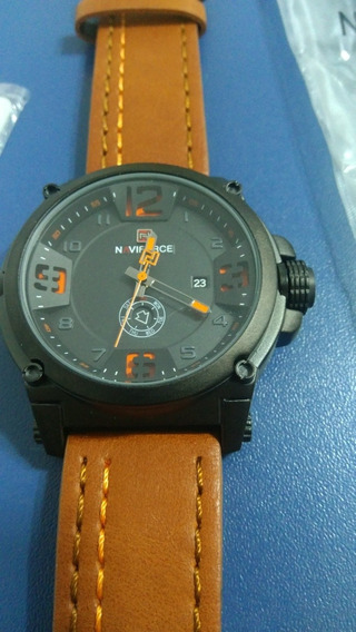 Relógio Naviforce-9095 Pulseira Em Couro Legítimo. Novo!