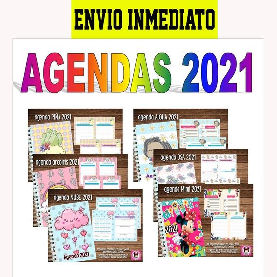 Kit Imprimible Agenda 2021 Editables Pack X10 Diseños