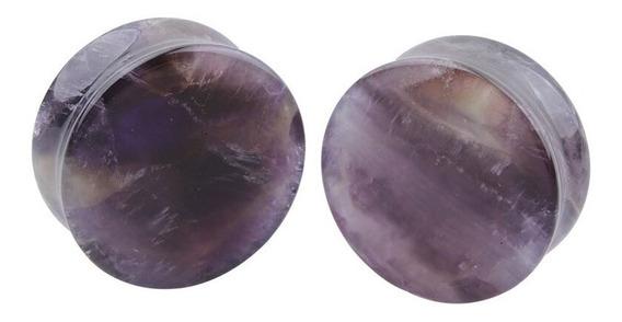 Par Alargador Plug Pedra Ametista 6, 8, 10, 12, 14mm