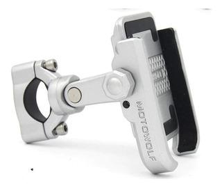 Soporte Aluminio Para Celular Gps Manillar Espejo Moto Bici