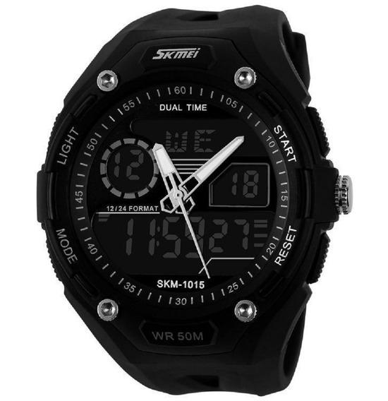 Relógio Masculino Skmei Anadigital Pulseira Preto 1015