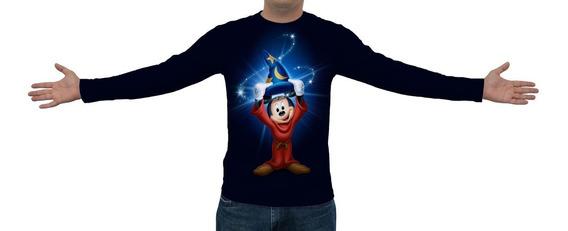 Camiseta, Camisa Mickey Mouse Chapéu Wizard - Manga Longa