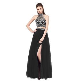 Vestido Graduación Crop Top Falda Negro Talla 10 Ep 305