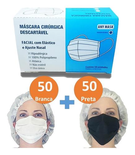 Máscara Descartável Na Caixa C/ Elástico Clipe Nasal  100 Un