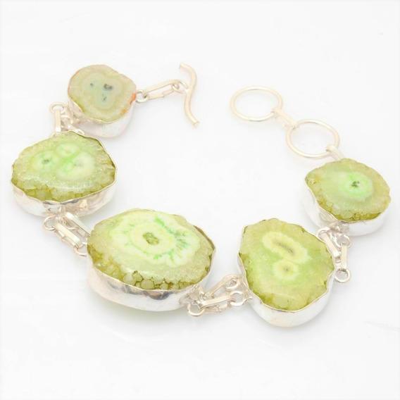 Pulseira E Brinco Facetados (quartzo Verde) Frete Grátis