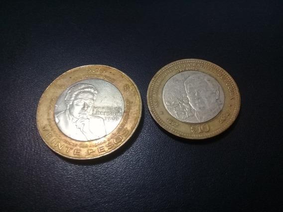 Par De Monedas Conmemorativas De 20 Y 10 Pesos Usadas