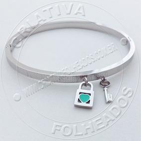Bracelete Pulseira Cadeado Coração Chave 16cm Inox Retur