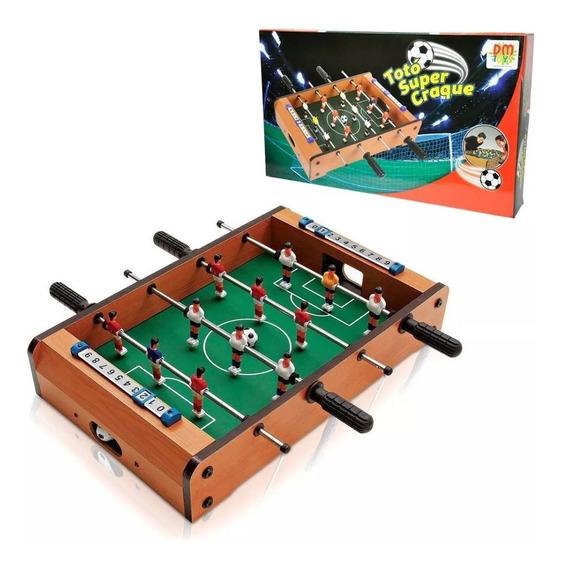 Mini Mesa Futebol Pebolim Jogo Toto 12 Jogadores C/marcador