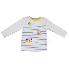 Camiseta Manga Longa Em Meia Malha - Animais - Branco - Fish