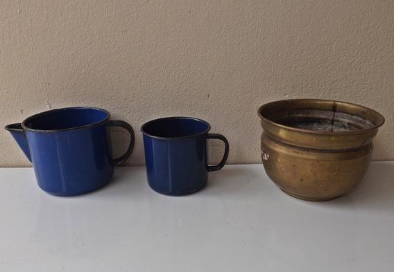 Antigas Canecas Ágata (mesa Máquna Costura Fogão Lenha Bule)