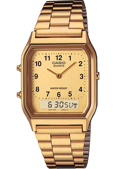 Relógio Casio Feminino Vintage Aq 230ga 9bmq Dourado Origina