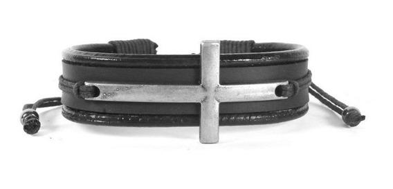 Pulseira Masculina Bracelete Couro Com Ajuste - Cruz