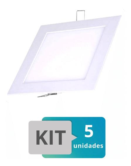 Kit 5 Painel Plafon Led Embutir Slim Quadrado 18w Branco Que