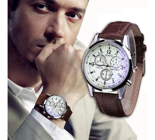 Relógio De  Luxo  Marca  Genebra-  Pulseira  Couro-  G-01