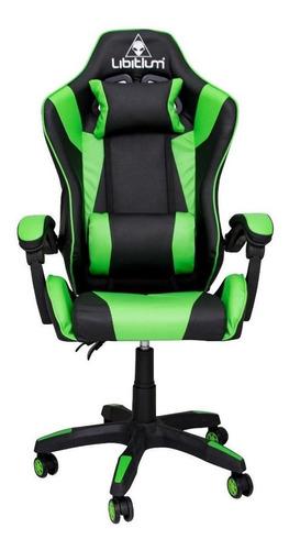 Imagen 1 de 1 de Silla de escritorio Libitium Gamer gamer ergonómica  negra y verde con tapizado de cuero sintético