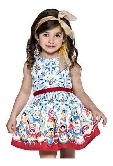 Vestido Infantil Azul E Vermelho Mon Sucré