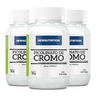 Picolinato De Cromo - 3x 120 Cápsulas - Newnutrition